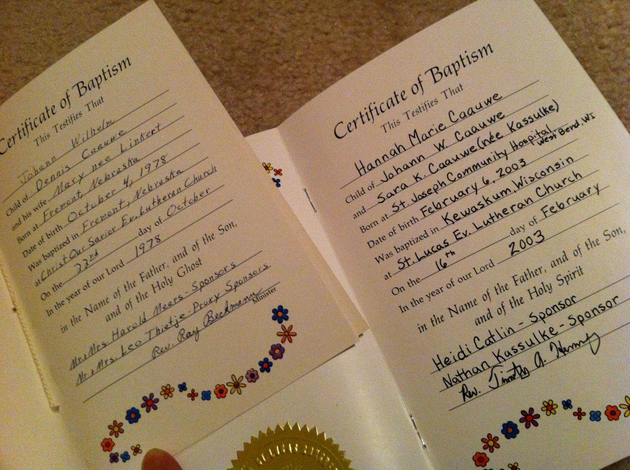 baptism certificate wording